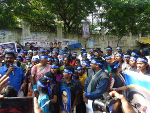 Bhim Yatra members on protest