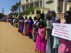 Human Chain by Salt pan Workers - Thoothukudi- Feb 21st