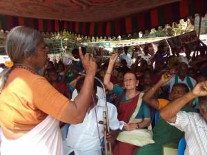 Com. R Geetha of UWF addressing workers in Chennai
