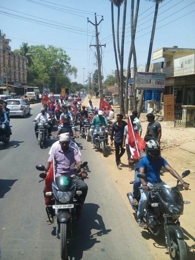 AICCTU Worker on Bike Rally in Sriperumbudur