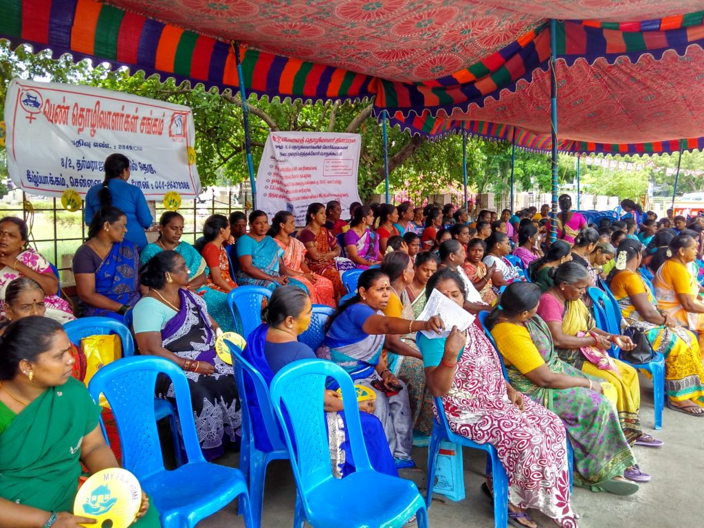 Domestic Workers assemble for the demonstration