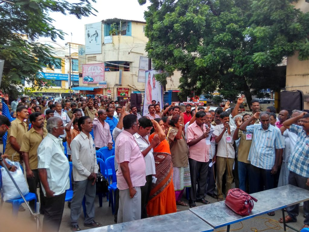 Voicing aloud the demands - Valasaravakkam