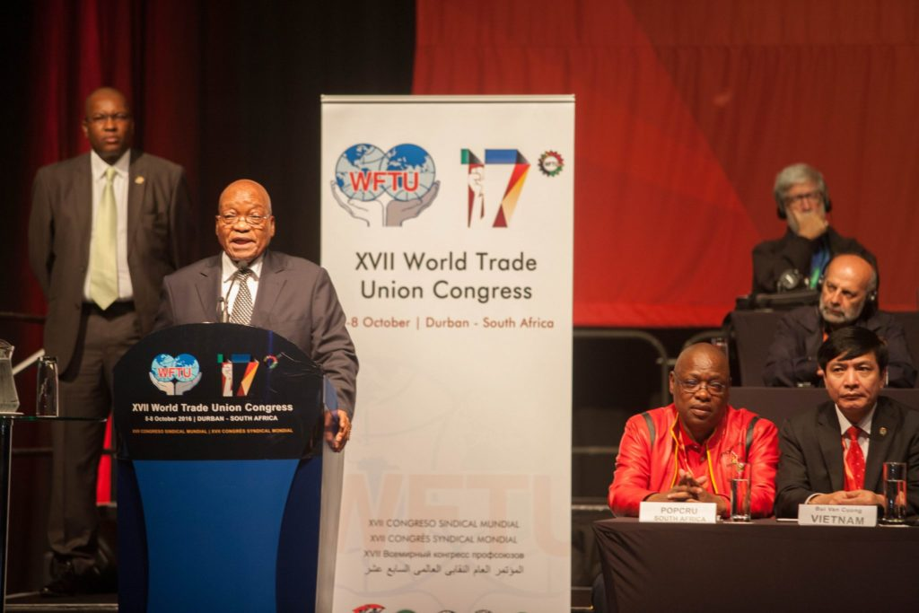 South African President addressing WFTU